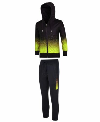 Kids Tracksuit Pixel Dot Print Hooded Jumper Top Boy Girl Jogging Bottoms 3-14 Y