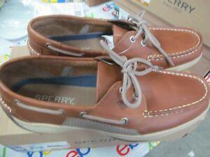 Sperry-Men-039-s-Intrepid-2-Eye-Boat-Shoe-Mens-Top-Sider-Tan-Pick-Size-NWOB