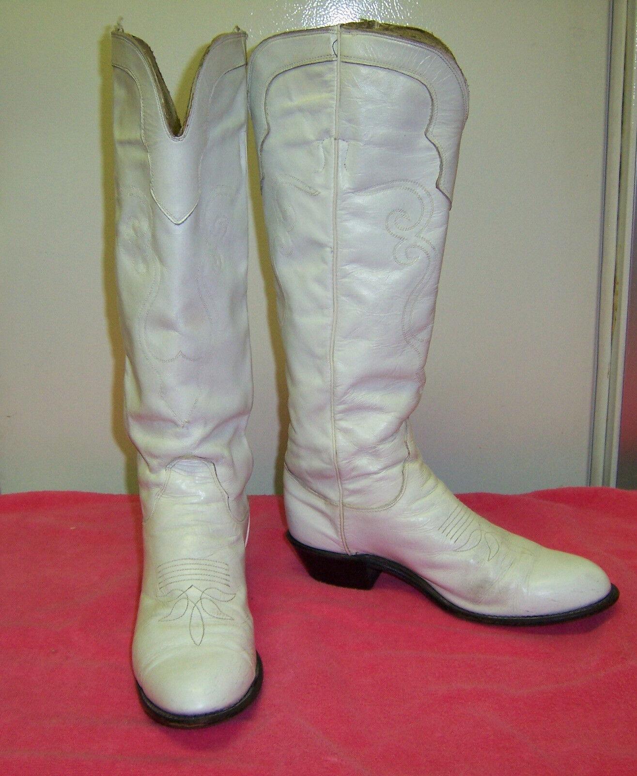 Evenin' Star Custom Made Dance Boots, White, Size 6 1/2 C, 15 in tall shaft