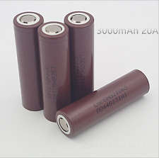 3000mAh 20A Flat Top Rechargeable LG HG2 18650 Battery Cell- Pack of 4(No PCM)