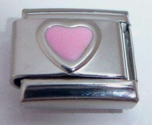 Corazón rosa encanto italiano-Octubre Piedra que te amo-se adapta a 9mm pulseras