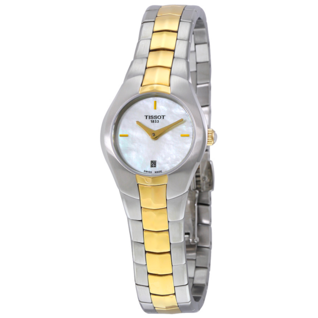 NWT Ladies Tissot T-Round T0960092211100 Two Tone Mother of Pearl Diamond Watch
