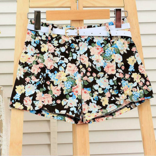 Women New Blooming Flowers Floral Print High Elastic Waist Mini Pants Shorts O