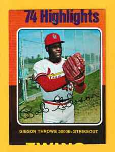 Stored in a Protective Plastic Display Case!! Bob Gibson 1975 Topps Baseball Card # 150 Louis Cardinals St