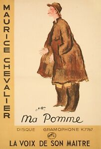 Original-Art-Deco-Poster-Charles-KIFFER-MAURICE-CHEVALIER-MA-POMME-1937