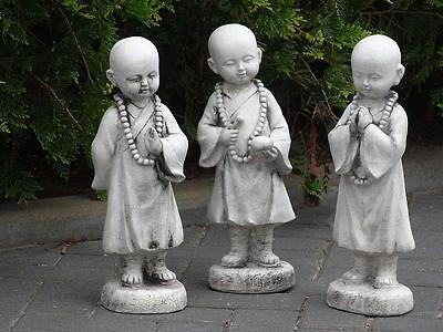 Steinfigur Nr.413 FENG SHUI Buddha Mönche 3-Set ca. 41 cm ca. 17 kg Wetterfest