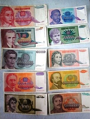 Yugoslavia Inflation Lot 1992 1993 banknote 50000-1000000000 No2