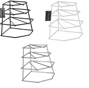 Image is loading 4-TIER-WIRE-CORNER-PLATE-STAND-STACKER-HOLDER-  sc 1 st  eBay & 4 TIER WIRE CORNER PLATE STAND STACKER HOLDER STORAGE RACK CUPBOARD ...