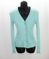 Talbots Wintergreen (seafoam) Ribbed V-neck Cardigan Women's Petite