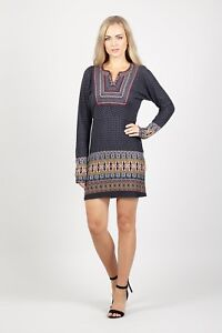 STELLA-MORGAN-LONG-SLEEVE-EMBROIDERED-EASTERN-PRINT-TIE-BACK-TUNIC-DRESS