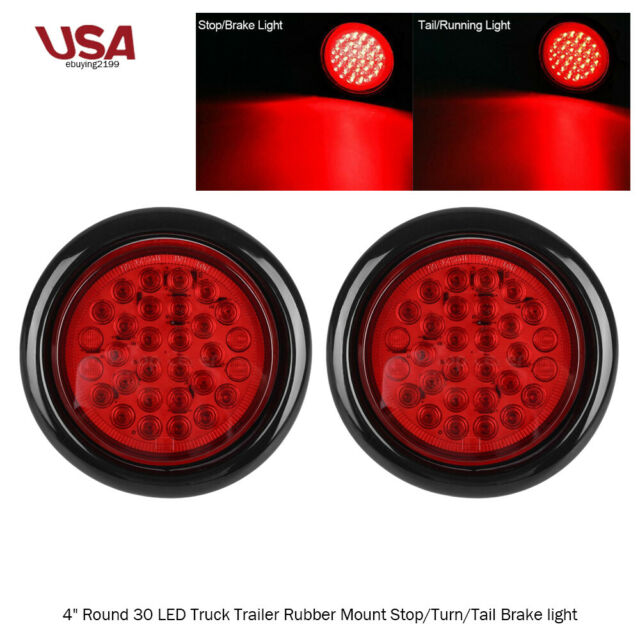 2x White 4 U0026quot  Inch 30 Led Round Light Stop Turn Tail Backup