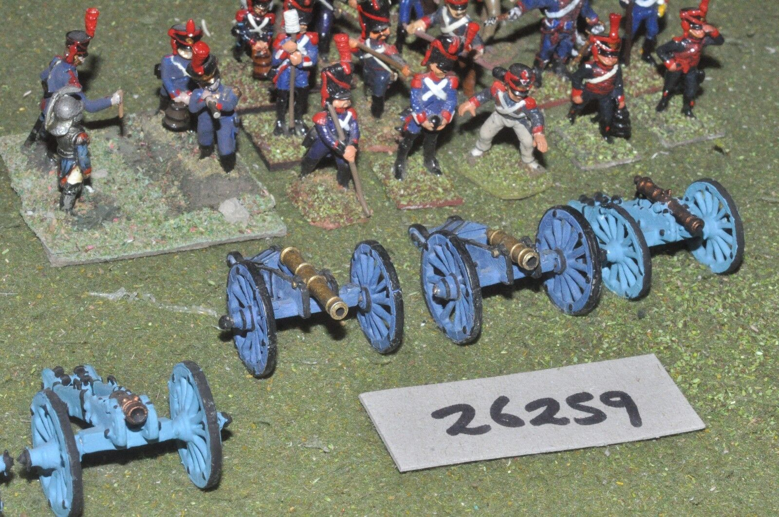 25mm napoleonic   french - 3 guns & crews - art (26259)