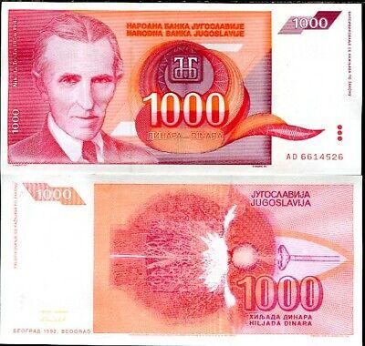 aUNC YUGOSLAVIA Set of 10 Notes: 1000 Dinara 1992 P 114 P114 TESLA