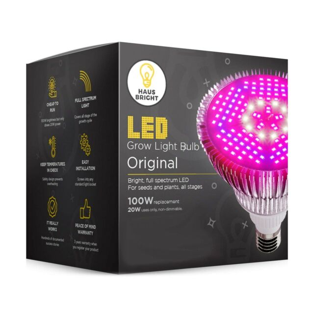 E26//E27 LED Grow Light Bulb,30W Full Spectrum Grow Bulbs for Indoor Plants Hydroponic,Plant Lamp for Greenhouse Organic Succulent Flowers Tobacco Vegetable Seedling 30W