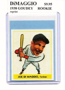 Details About Joe Dimaggio New York Yankees 1938 Goudey Rookie Card Reprint