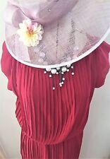 Señoras mi (corazón) es Rojo Borgoña Maxi Vestido Plisado Noche ASCOT BODA UK S/M