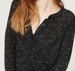 Ann Taylor LOFT Spacedye Knit Blouse Top Size X-Small Petite Deep Grey Space Dye
