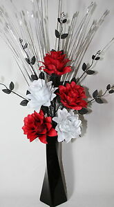 Artificial silk flower arrangement red black white flowers in black image is loading artificial silk flower arrangement red black white flowers mightylinksfo Image collections