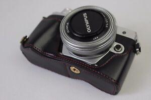 PU-Leather-Half-Case-Bag-Grip-for-Olympus-OM-D-OMD-E-M10-Mark-II-M2-Camera