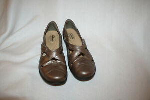 Women-Clarks-Ashland-Spin-Q-Bronze-Pewter-Leather-Slip-On-Loafer-Shoe-Size-8-5