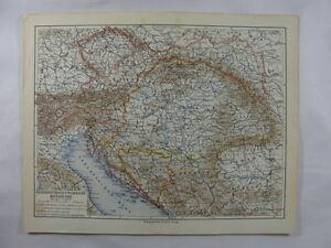Antique-Map-Austria-Hungary-Monarchy-Bavaria-Bosnia-Serbia-Turkey-Adriatic-Sea