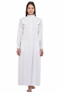 546f56ec95 Image is loading White-Edwardian-Nightdress-Long-Sleeve-Cotton-Lane