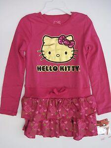 cef1f0cf95bf Girls Sanrio Hello Kitty Ruffled Dress Size 4 5 6 6x