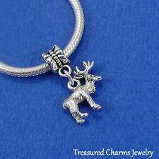 Silver REINDEER Rudolph Christmas Dangle Bead CHARM fits EUROPEAN Bracelet