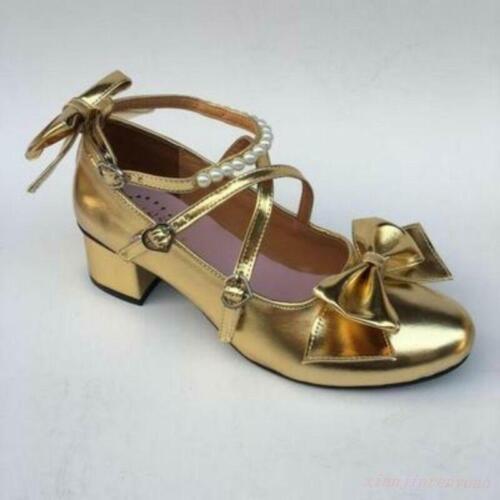hot sale online ea6b3 313e7 À Chaussures Bloc Eur Rond 31 Bowknot Japonais 52 5cm Taille Talon Lolita  Femmes 4 S Bout Hpwg7qxPP