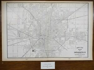 Vintage-1901-INDIANAPOLIS-INDIANA-Map-22-034-x14-034-Old-Antique-Original-OLD-NORTHSIDE