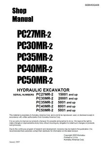 komatsu pc35mr 2 pc40mr 2 hydraulic excavator service shop manual in rh ebay com Komatsu PC40 Komatsu Model 630