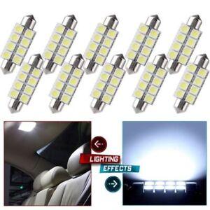 10X-Cool-White-578-211-2-Festoon-42MM-5050-8SMD-Dome-Map-Interior-LED-Light-bulb
