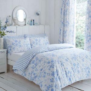 Charlotte-Thomas-Amelie-Reversible-Rayure-Parure-de-Lit-ou-Rideaux-en-bleu-blanc