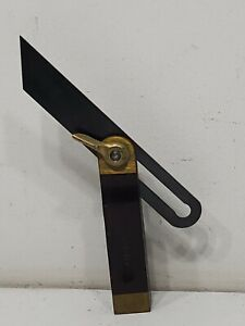 VINTAGE-STANLEY-NO-25-6-INCH-SLIDING-T-BEVEL-SQUARE-WOOD-WITH-BRASS-TRIM