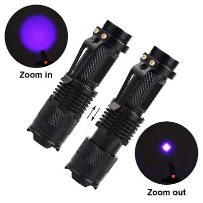 LED UV Flashlight Ultraviolet Torch With Zoom Function Mini UV Black Light Pet
