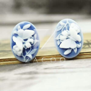 5pcs-23-5x17mm-Resin-Cabochons-Flatback-Butterfly-Shape-Flower-Cameo-PurpleRB524