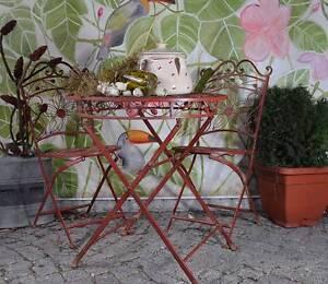 Détails sur Mobilier de jardin antique 3-Ensemble de jardin Vintage Métal  ELEGANCE terrasse salon weinro- afficher le titre d\'origine