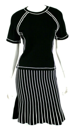 JW ANDERSON Black & White Striped Ribbed Knit Top