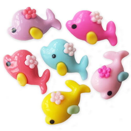 6pcs Cute Whale Dolphin Resin Flatback Cabochons Embellishment Decoden Craft