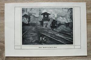 Kunstdruck-1-Blatt-1908-09-Abend-Eisenbahn-Bahnhof-Zug-nach-Gemaeld-Prof-H-Pleuer