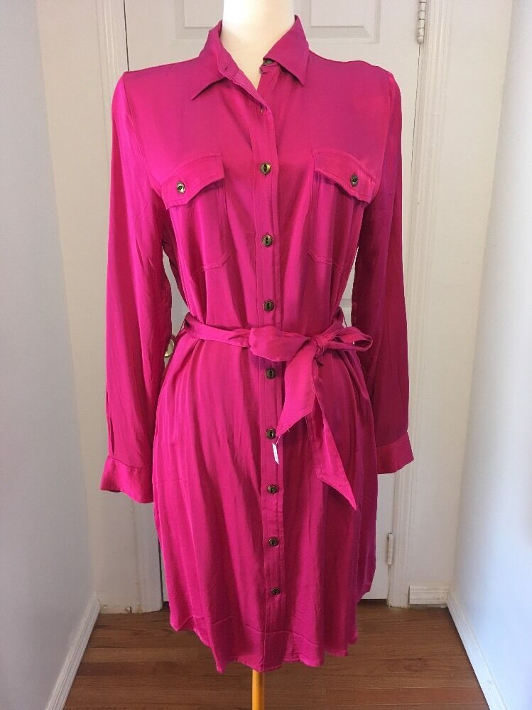 NWT Hot Pink Fuchsia Ralph Lauren Silky Belted Shirt Dress Size 14P