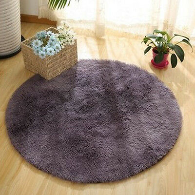 Round Floor Mat Fluffy Rugs Anti-Skid Shaggy Area Rug Room Home Bedroom Carpet