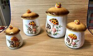Vtg-1983-Sears-Roebuck-Merry-Mushroom-4-Ceramic-Canisters-W-lids-Japan-READ