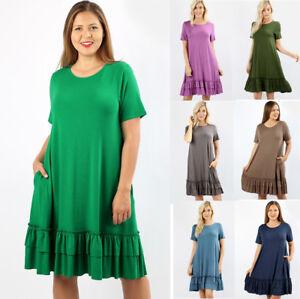 816350f64234 1X 2X 3X Womens Ruffle Hem T-Shirt Dress Casual Short Sleeve Pockets ...