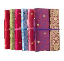 Sari Fabric Pocket Notebook Diary, 6 Colours, 11cm x 16cm Unlined Recycled Paper
