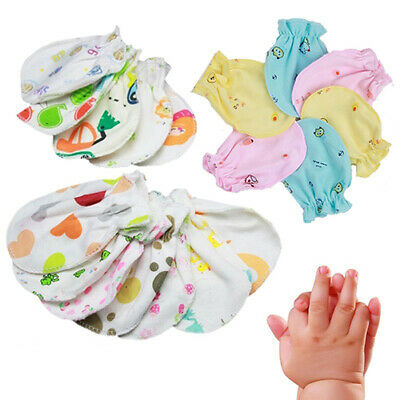 4 Pairs Newborn Baby Cute Animal Heart No Scratch Cotton Mittens Gloves US Stock
