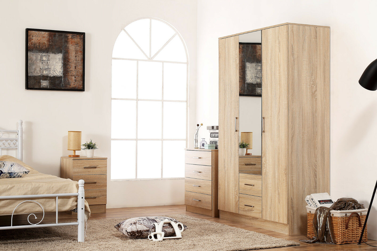 Sonoma Oak Mirrored Bedroom Furniture Set Soft Close Wardrobe Chest Bedside 5060624380068 Ebay
