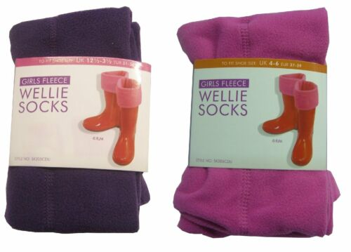 Girls,Ladies Fleece Wellies Liners,Wellie Socks in 4colors in 3sizes NEW