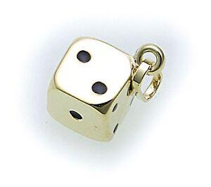 Anhaenger-Wuerfel-in-echt-333-Gold-8-karat-poliert-Gelbgold-Qualitaet-Punkte-Lack