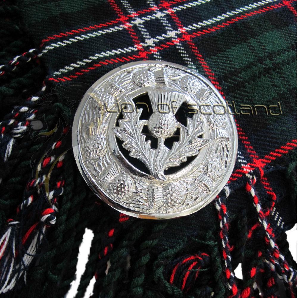Highland Kilt Fly Plaid Brooch Thistle Crest Chrome Finish 3